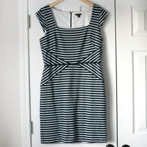 Ann Taylor blue and white striped career dress